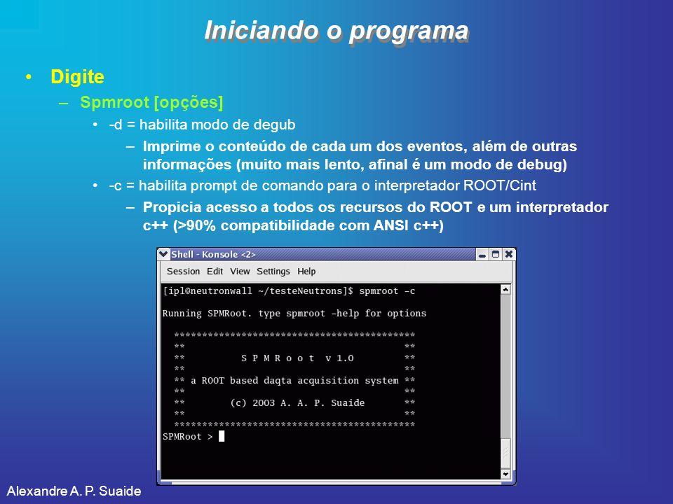 Iniciando o programa Digite Spmroot [opções]